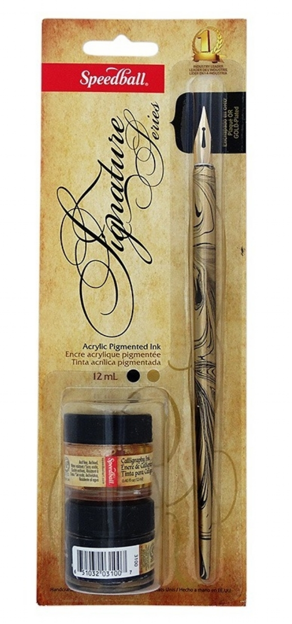 Kit Para Caligrafia Speedball Pena E Tinta - Signature